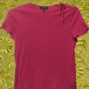 Lauren Ralph Lauren Small Pink Shoulder Tie Tee